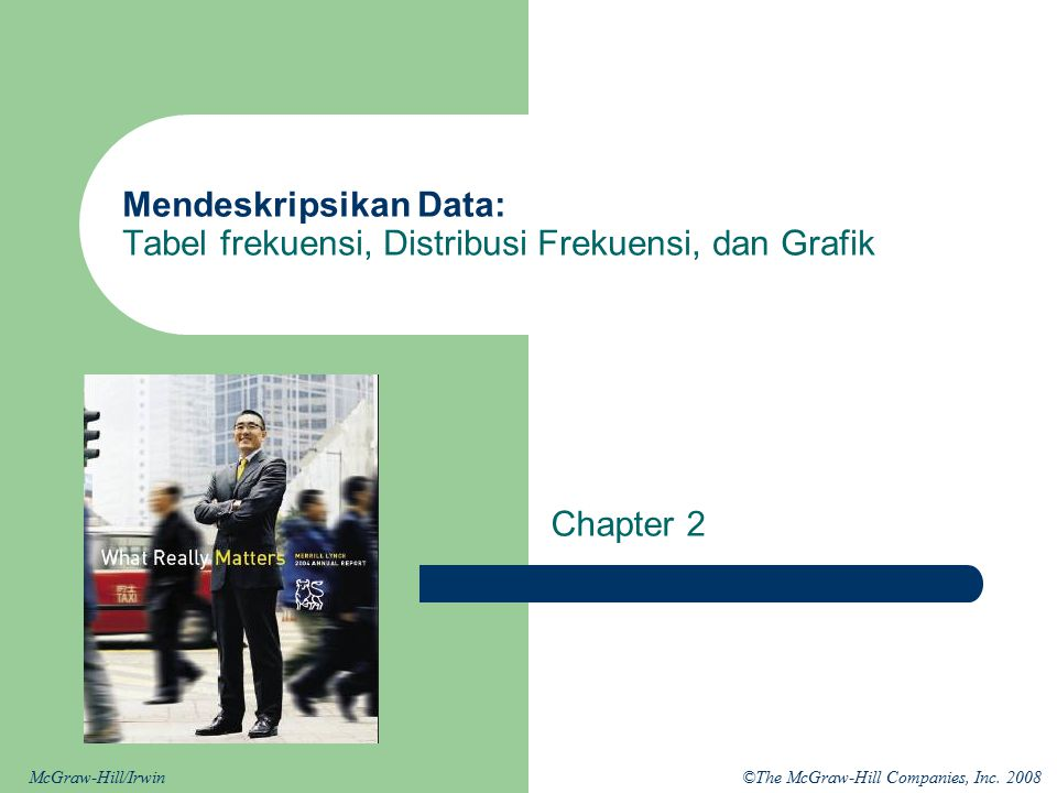 ©The McGraw-Hill Companies, Inc. 2008McGraw-Hill/Irwin Mendeskripsikan Data: Tabel frekuensi, Distribusi Frekuensi, dan Grafik Chapter 2