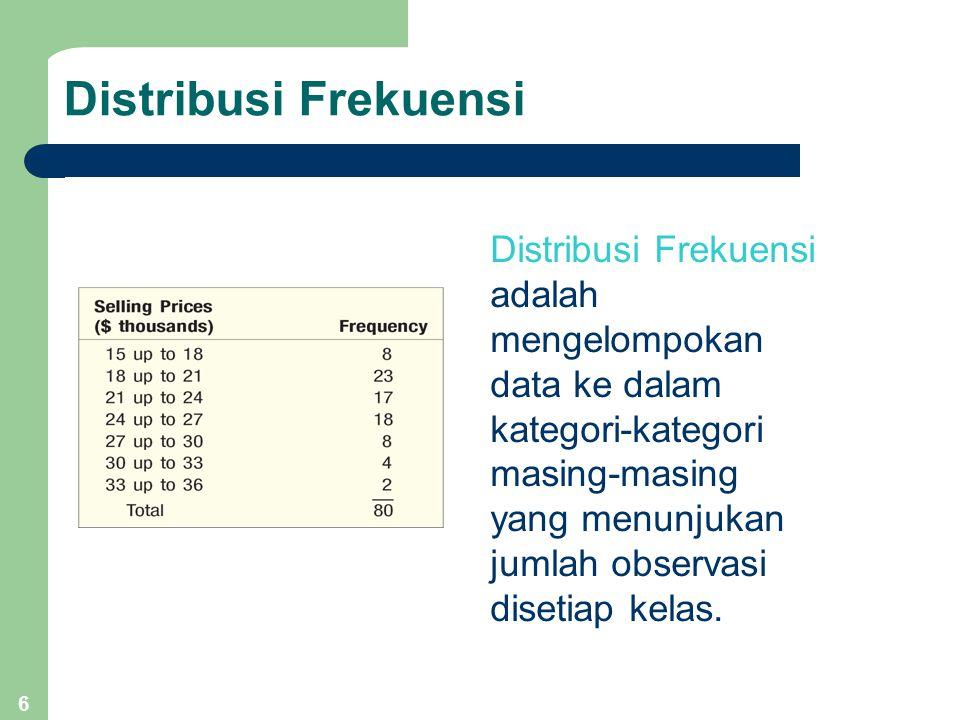 6 Distribusi Frekuensi Distribusi Frekuensi adalah mengelompokan data ke dalam kategori-kategori masing-masing yang menunjukan jumlah observasi disetiap kelas.