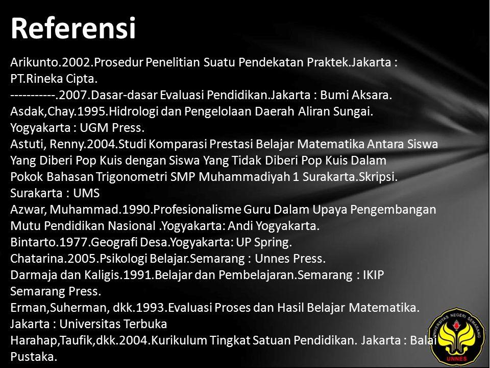 Referensi Arikunto.2002.Prosedur Penelitian Suatu Pendekatan Praktek.Jakarta : PT.Rineka Cipta. -----------.2007.Dasar-dasar Evaluasi Pendidikan.Jakar