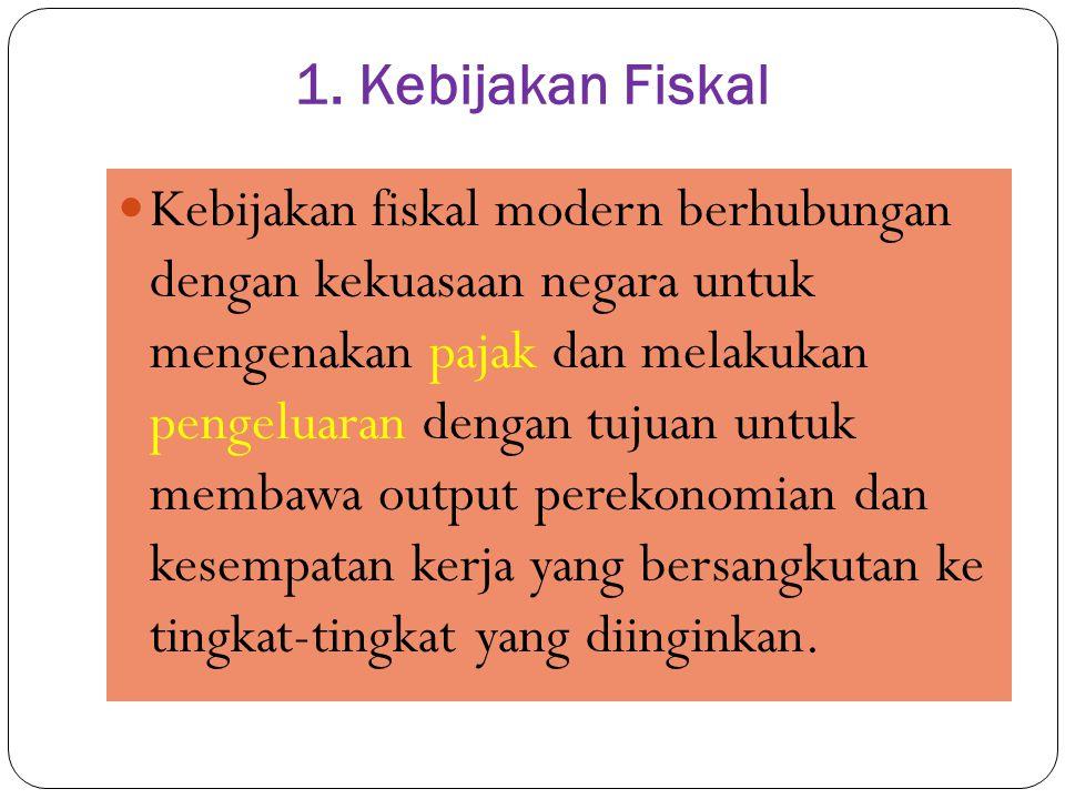 1. Kebijakan Fiskal Kebijakan fiskal modern berhubungan dengan kekuasaan negara untuk mengenakan pajak dan melakukan pengeluaran dengan tujuan untuk m