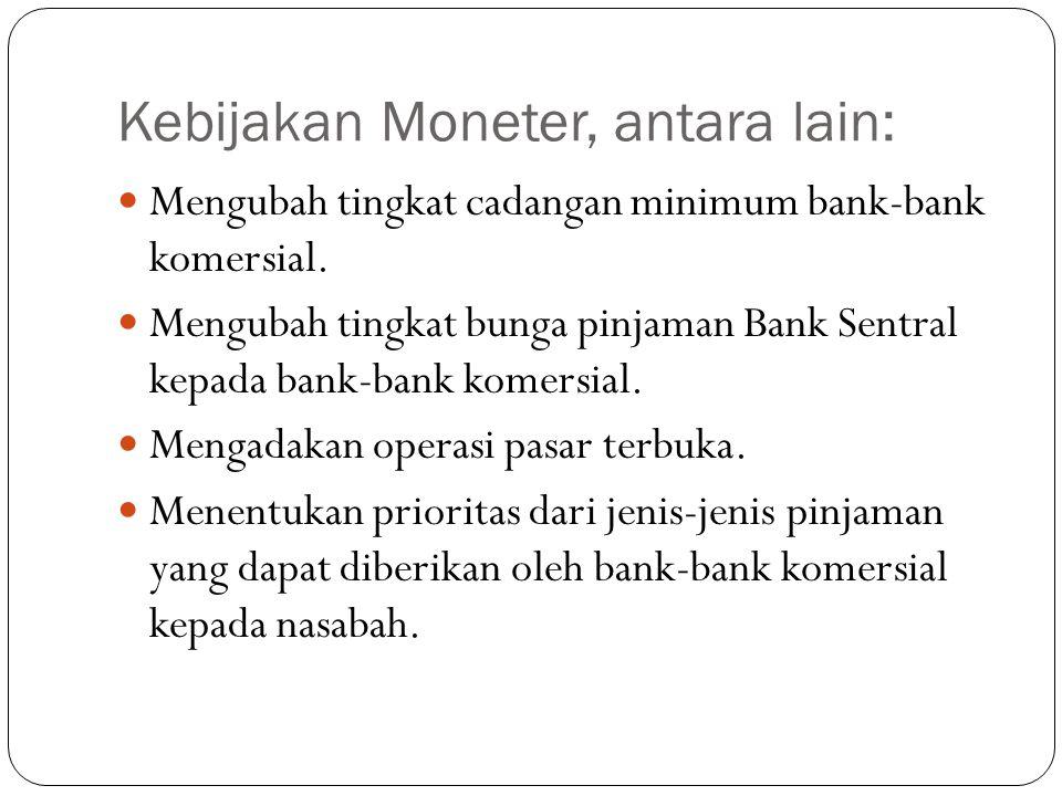 Kebijakan Moneter, antara lain: Mengubah tingkat cadangan minimum bank-bank komersial. Mengubah tingkat bunga pinjaman Bank Sentral kepada bank-bank k