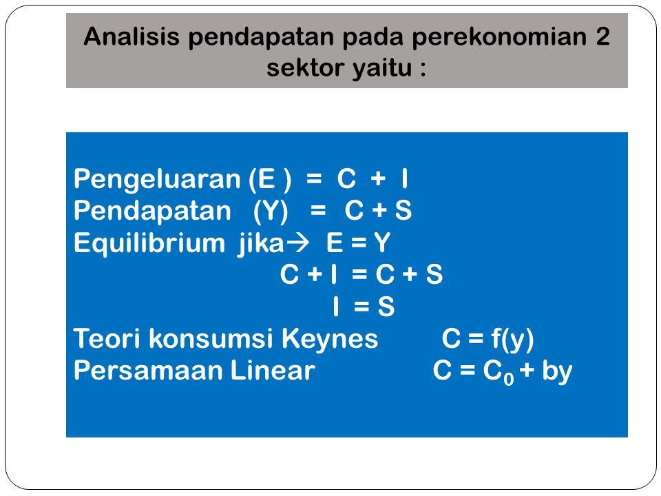 Analisis pendapatan pada perekonomian 2 sektor yaitu : Pengeluaran (E ) = C + I Pendapatan (Y) = C + S Equilibrium jika  E = Y C + I = C + S I = S Te