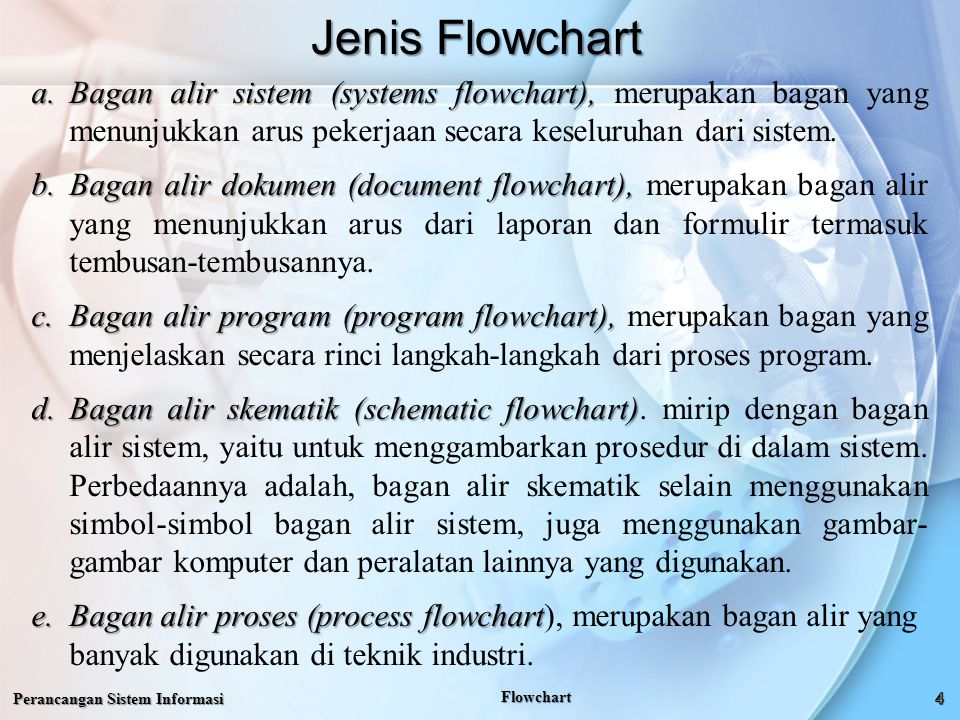 Jenis Flowchart Perancangan Sistem Informasi Flowchart a.Bagan alir sistem (systems flowchart), a.Bagan alir sistem (systems flowchart), merupakan bagan yang menunjukkan arus pekerjaan secara keseluruhan dari sistem.