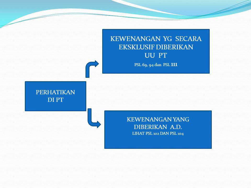 PERHATIKAN DI PT KEWENANGAN YG SECARA EKSKLUSIF DIBERIKAN UU PT PSL 69, 94 dan PSL 111 KEWENANGAN YANG DIBERIKAN A.D. LIHAT PSL 102 DAN PSL 104