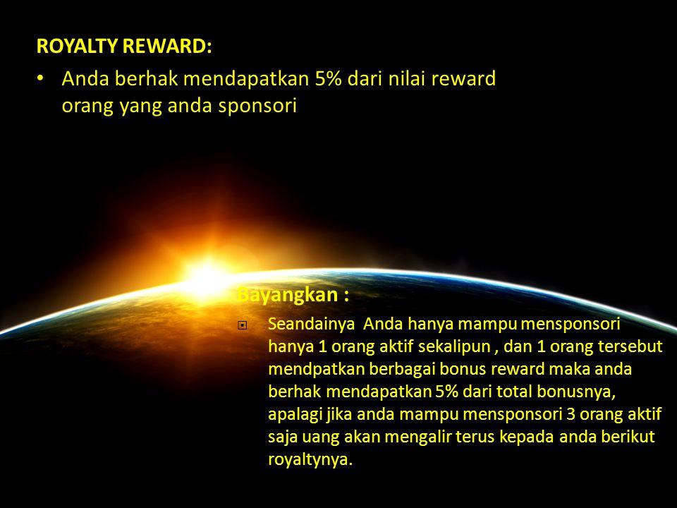 REWARD Berdasarkan Titik Member 20 : 20 3.700.000Laptop 100 : 100 15.500.000Motor 290 : 290 47.000.000DP Mobil 725 : 725 95.000.000DP Property 1800 :