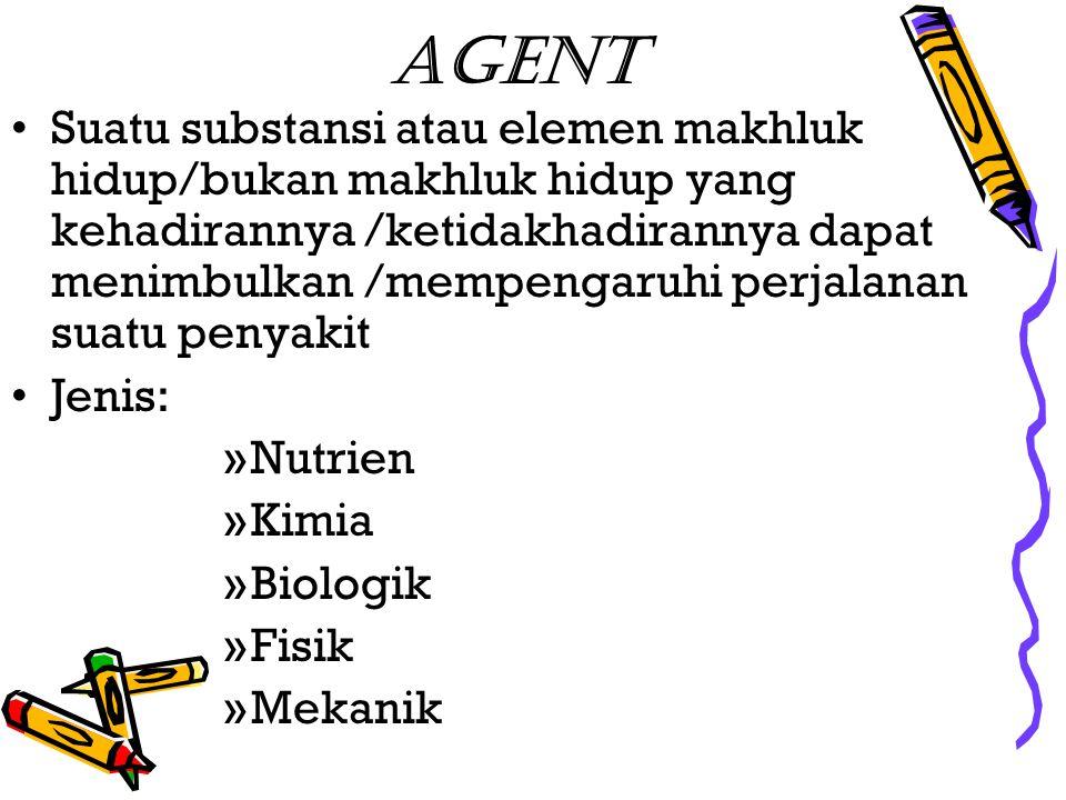 Agent Suatu substansi atau elemen makhluk hidup/bukan makhluk hidup yang kehadirannya /ketidakhadirannya dapat menimbulkan /mempengaruhi perjalanan su