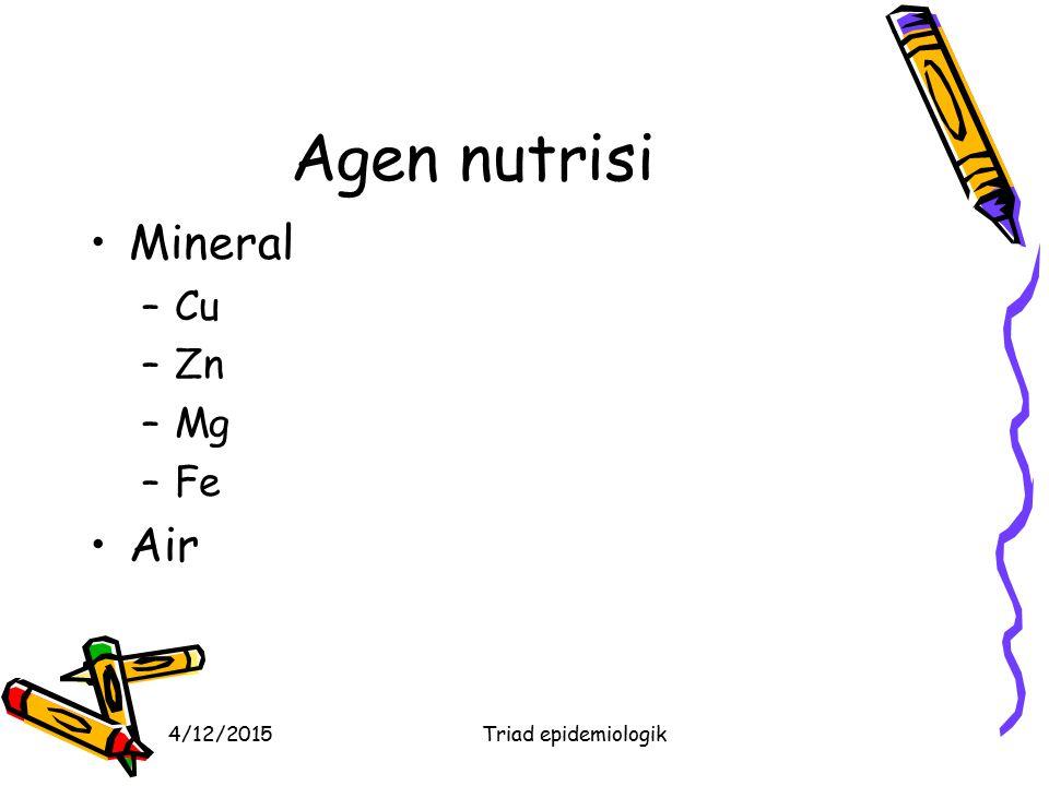4/12/2015Triad epidemiologik Agen nutrisi Mineral –Cu –Zn –Mg –Fe Air