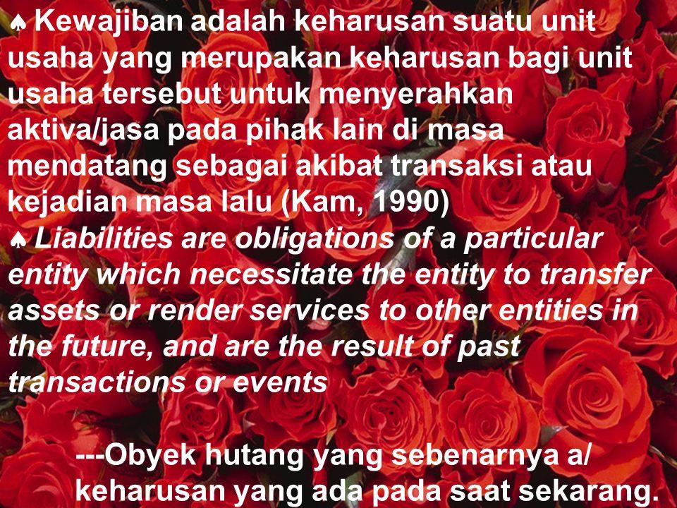 Kewajiban adalah keharusan suatu unit usaha yang merupakan keharusan bagi unit usaha tersebut untuk menyerahkan aktiva/jasa pada pihak lain di masa