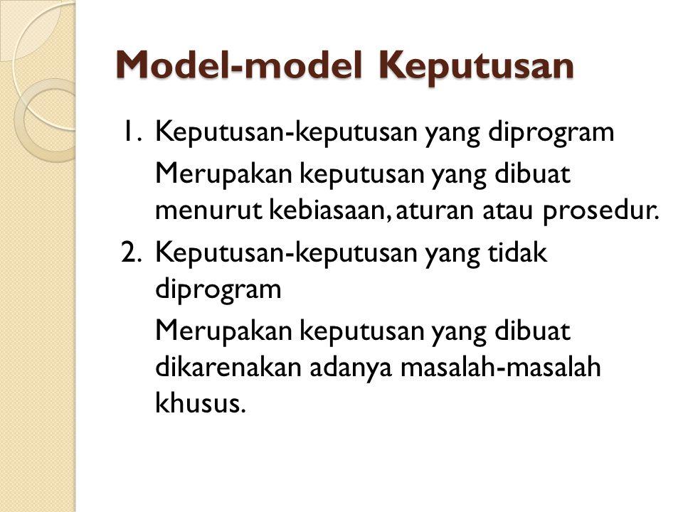 Model-model Keputusan Keputusan-keputusan yang tidak diprogram, dapat dibedakan lagi menjadi empat model keputusan, yaitu: a.Model keputusan dengan kepastian Model keputusan ini dibuat berdasarkan data yang dapat ditentukan secara pasti dan hasil yang diharapkan tidak menyimpang dari yang yang diperkirakan.