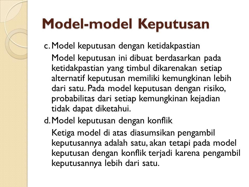 Model-model Keputusan c.Model keputusan dengan ketidakpastian Model keputusan ini dibuat berdasarkan pada ketidakpastian yang timbul dikarenakan setia