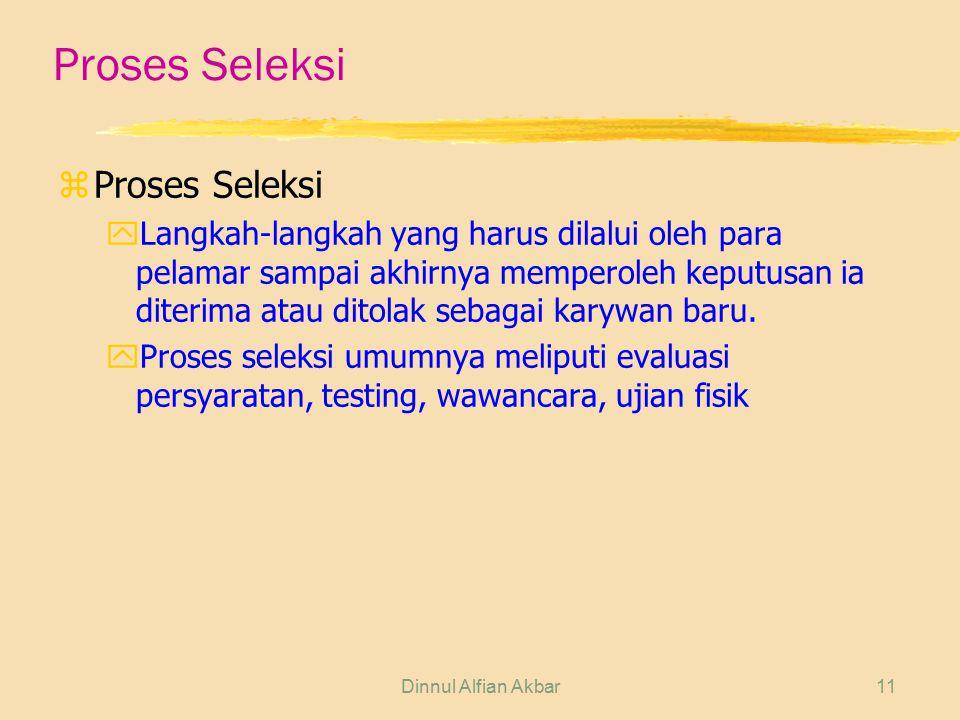 Dinnul Alfian Akbar11 Proses Seleksi zProses Seleksi yLangkah-langkah yang harus dilalui oleh para pelamar sampai akhirnya memperoleh keputusan ia dit