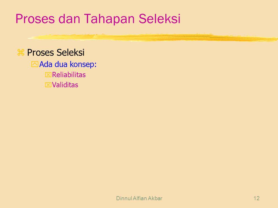 Dinnul Alfian Akbar12 Proses dan Tahapan Seleksi zProses Seleksi yAda dua konsep: xReliabilitas xValiditas