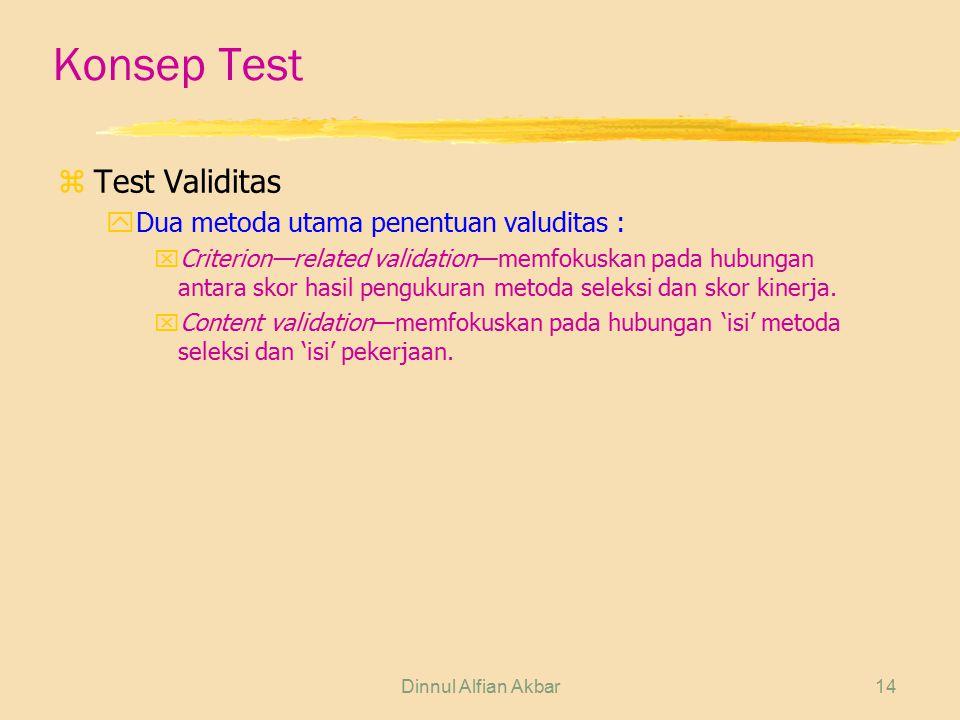 Dinnul Alfian Akbar14 Konsep Test zTest Validitas yDua metoda utama penentuan valuditas : xCriterion—related validation—memfokuskan pada hubungan anta