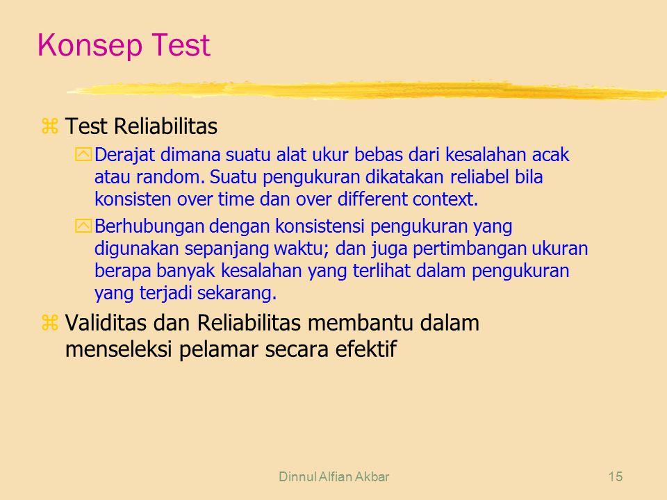Dinnul Alfian Akbar15 Konsep Test zTest Reliabilitas yDerajat dimana suatu alat ukur bebas dari kesalahan acak atau random. Suatu pengukuran dikatakan