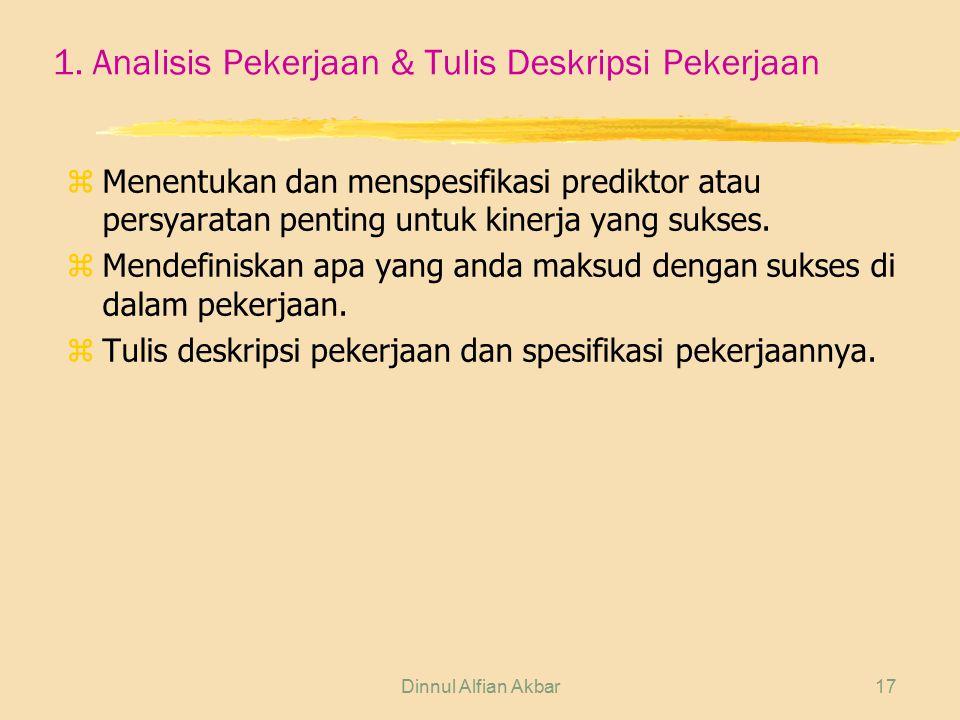 Dinnul Alfian Akbar17 1. Analisis Pekerjaan & Tulis Deskripsi Pekerjaan z Menentukan dan menspesifikasi prediktor atau persyaratan penting untuk kiner