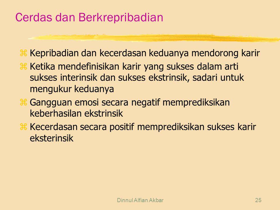 Dinnul Alfian Akbar25 Cerdas dan Berkrepribadian z Kepribadian dan kecerdasan keduanya mendorong karir z Ketika mendefinisikan karir yang sukses dalam