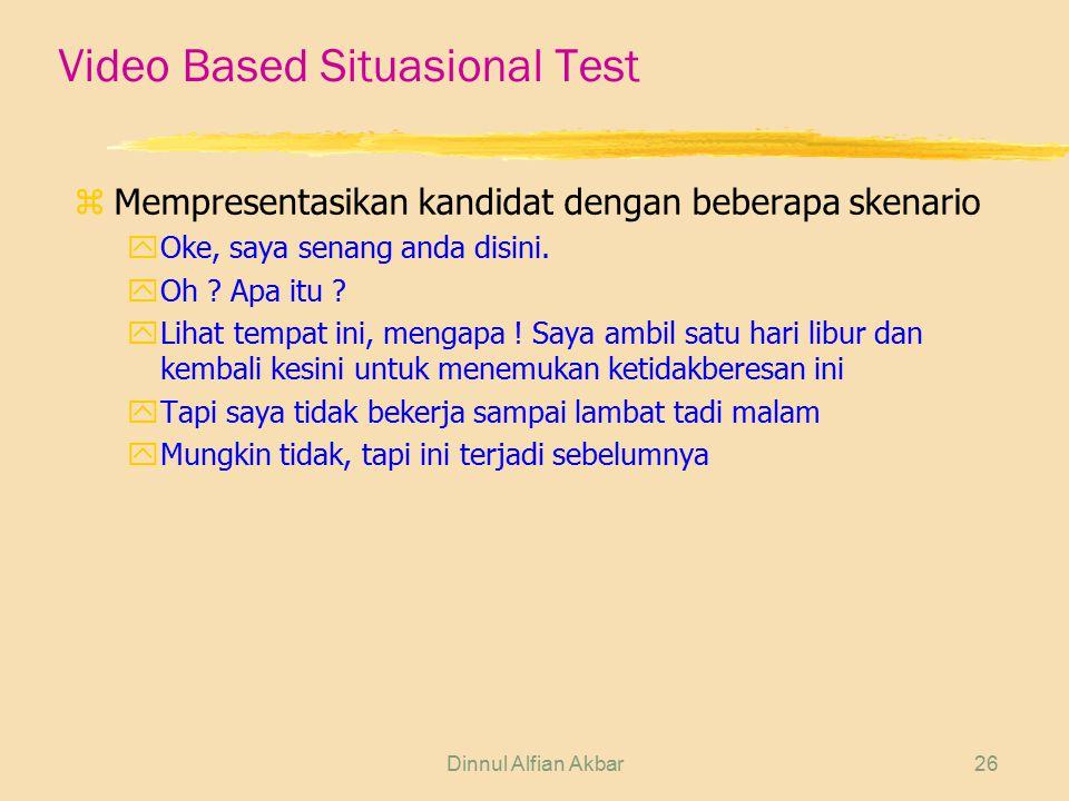 Dinnul Alfian Akbar26 Video Based Situasional Test z Mempresentasikan kandidat dengan beberapa skenario yOke, saya senang anda disini. yOh ? Apa itu ?