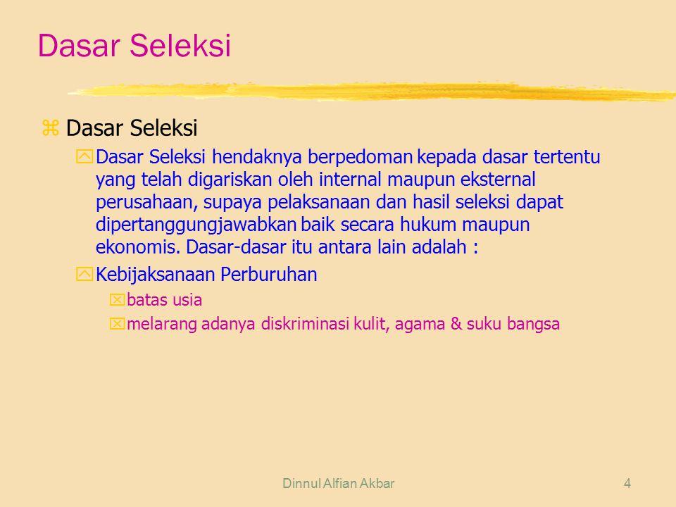 Dinnul Alfian Akbar4 Dasar Seleksi zDasar Seleksi yDasar Seleksi hendaknya berpedoman kepada dasar tertentu yang telah digariskan oleh internal maupun