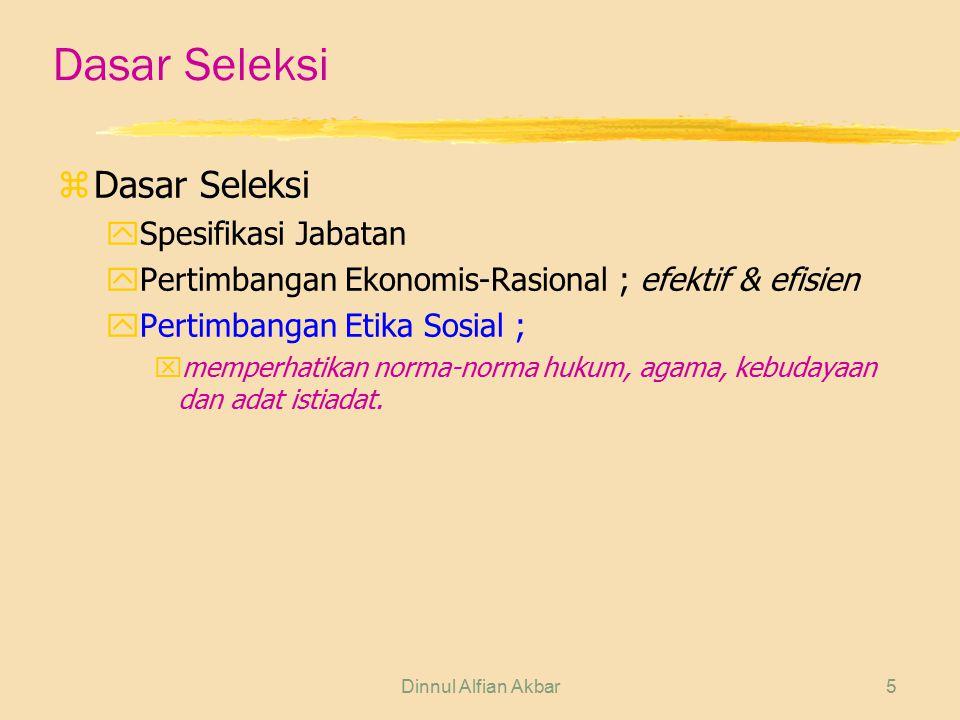 Dinnul Alfian Akbar6 Tujuan Seleksi zUntuk memperoleh hal sebagai berikut: ykaryawan yang qualified dan potensial y karyawan yang jujur dan berdisiplin y karyawan yang cakap dengan penempatan yang tepat y karyawan yang terampil dan bersemangat dalam bekerja y karyawan yang memenuhi syarat u.u.