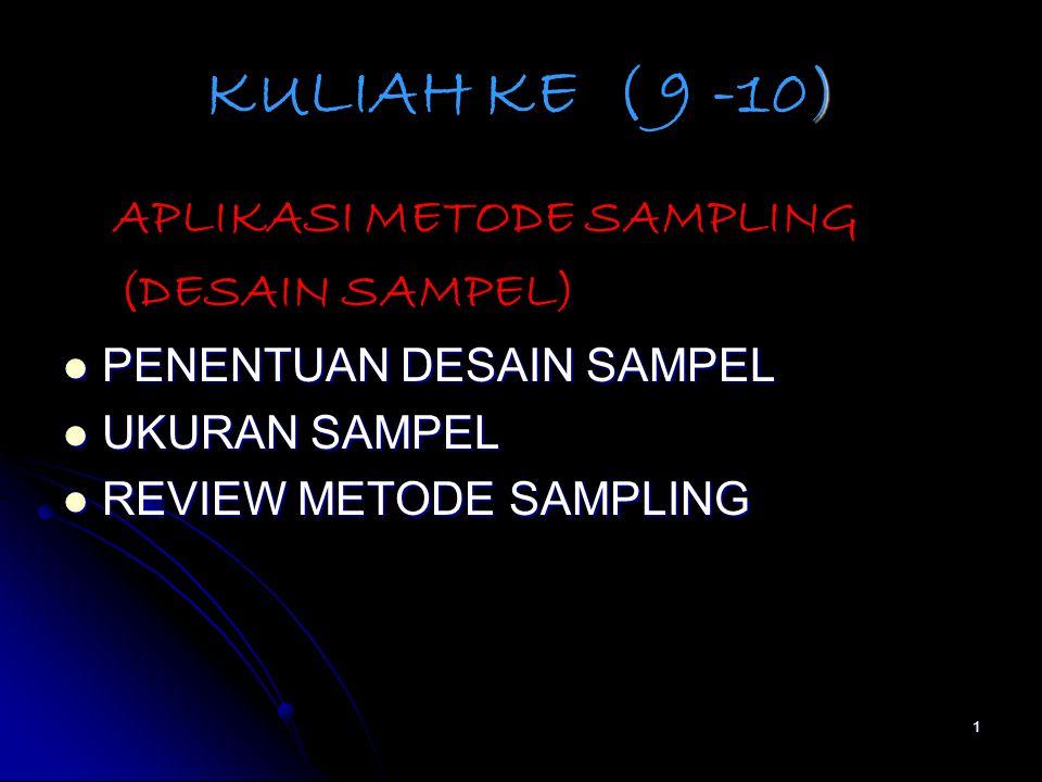 1 ) KULIAH KE ( 9 -10) APLIKASI METODE SAMPLING (DESAIN SAMPEL) PENENTUAN DESAIN SAMPEL PENENTUAN DESAIN SAMPEL UKURAN SAMPEL UKURAN SAMPEL REVIEW METODE SAMPLING REVIEW METODE SAMPLING