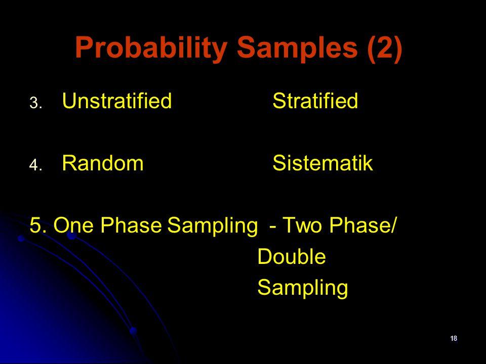 18 Probability Samples (2) 3. 3. UnstratifiedStratified 4. 4. RandomSistematik 5. One Phase Sampling - Two Phase/ Double Sampling