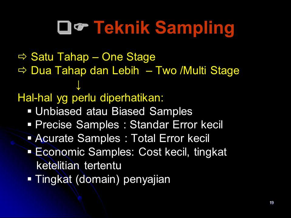 19   Teknik Sampling  Satu Tahap – One Stage  Dua Tahap dan Lebih – Two /Multi Stage ↓ Hal-hal yg perlu diperhatikan:  Unbiased atau Biased Sam