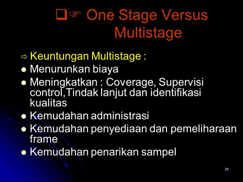 21  One Stage Versus Multistage  Keuntungan Multistage : Menurunkan biaya Meningkatkan : Coverage, Supervisi control,Tindak lanjut dan identifikasi kualitas Kemudahan administrasi Kemudahan penyediaan dan pemeliharaan frame Kemudahan penarikan sampel