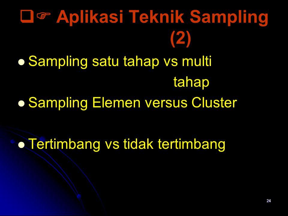 24  Aplikasi Teknik Sampling (2) Sampling satu tahap vs multi tahap Sampling Elemen versus Cluster Tertimbang vs tidak tertimbang