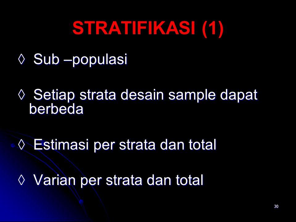 30 STRATIFIKASI (1) ◊ Sub –populasi ◊ Setiap strata desain sample dapat berbeda ◊ Estimasi per strata dan total ◊ Varian per strata dan total