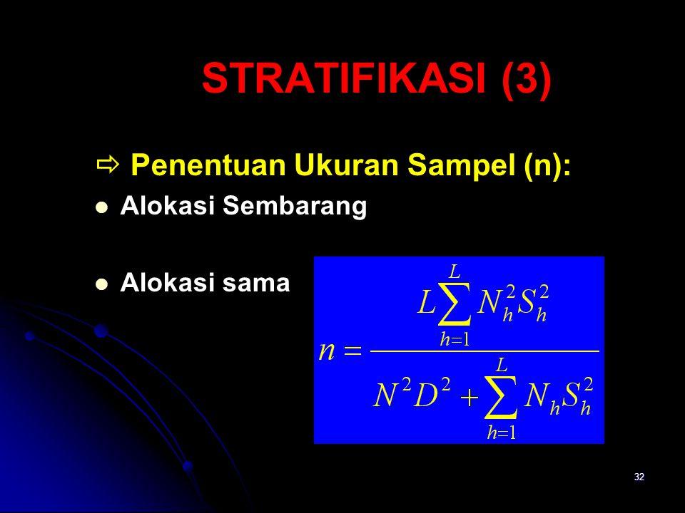 32 STRATIFIKASI (3)  Penentuan Ukuran Sampel (n): Alokasi Sembarang Alokasi sama