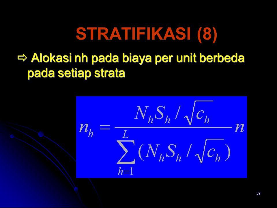 37 STRATIFIKASI (8)  Alokasi nh pada biaya per unit berbeda pada setiap strata