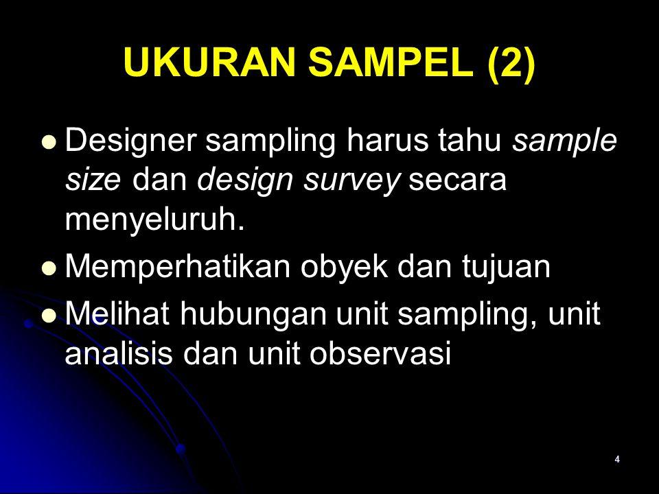 4 UKURAN SAMPEL (2) Designer sampling harus tahu sample size dan design survey secara menyeluruh.