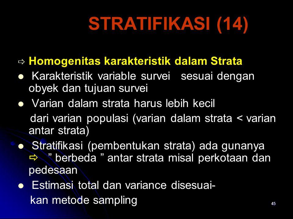 45 STRATIFIKASI (14)   Homogenitas karakteristik dalam Strata Karakteristik variable survei sesuai dengan obyek dan tujuan survei Varian dalam strata harus lebih kecil dari varian populasi (varian dalam strata < varian antar strata) Stratifikasi (pembentukan strata) ada gunanya  berbeda antar strata misal perkotaan dan pedesaan Estimasi total dan variance disesuai- kan metode sampling