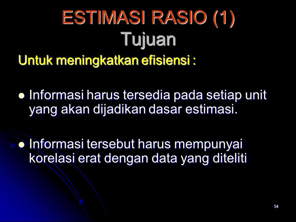 54 ESTIMASI RASIO (1) Tujuan Untuk meningkatkan efisiensi : Informasi harus tersedia pada setiap unit yang akan dijadikan dasar estimasi. Informasi ha