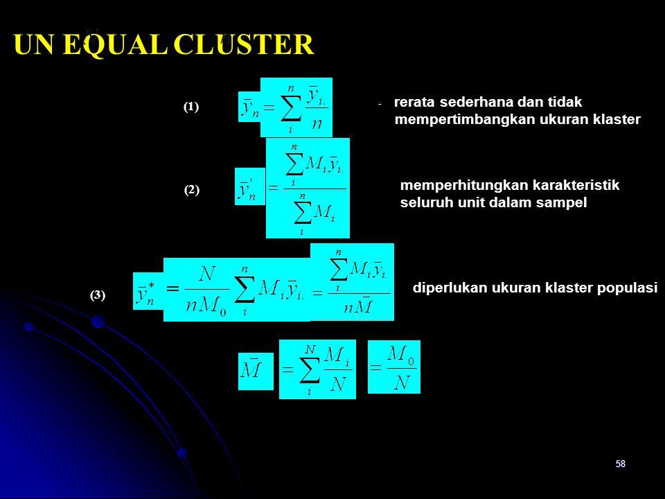 58 UN EQUAL CLUSTER - rerata sederhana dan tidak mempertimbangkan ukuran klaster diperlukan ukuran klaster populasi memperhitungkan karakteristik seluruh unit dalam sampel (1) (2) (3)