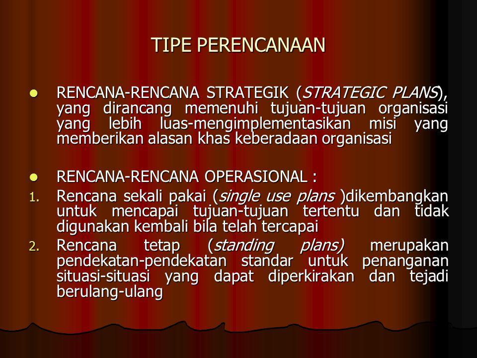 TIPE PERENCANAAN RENCANA-RENCANA STRATEGIK (STRATEGIC PLANS), yang dirancang memenuhi tujuan-tujuan organisasi yang lebih luas-mengimplementasikan mis