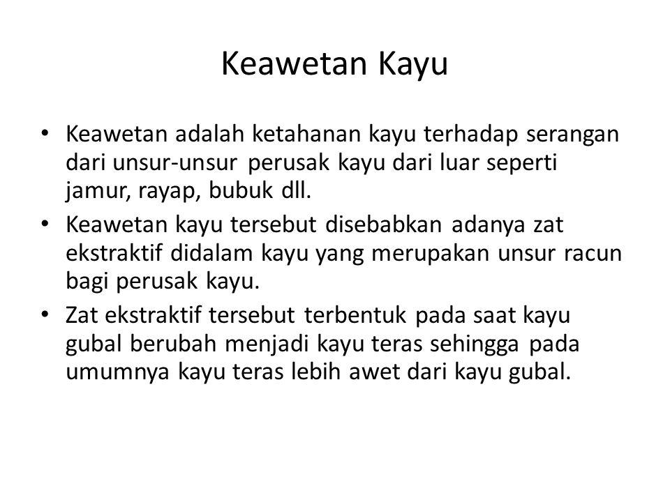 Keawetan Kayu Keawetan adalah ketahanan kayu terhadap serangan dari unsur-unsur perusak kayu dari luar seperti jamur, rayap, bubuk dll.