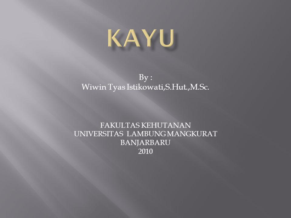 By : Wiwin Tyas Istikowati,S.Hut.,M.Sc. FAKULTAS KEHUTANAN UNIVERSITAS LAMBUNG MANGKURAT BANJARBARU 2010