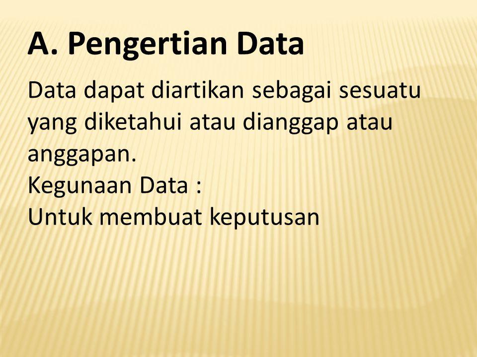 Data dapat diartikan sebagai sesuatu yang diketahui atau dianggap atau anggapan. Kegunaan Data : Untuk membuat keputusan A. Pengertian Data