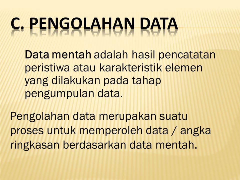 Data mentah adalah hasil pencatatan peristiwa atau karakteristik elemen yang dilakukan pada tahap pengumpulan data. Pengolahan data merupakan suatu pr
