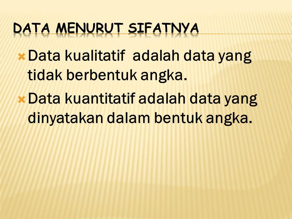  Data kualitatif adalah data yang tidak berbentuk angka.  Data kuantitatif adalah data yang dinyatakan dalam bentuk angka.