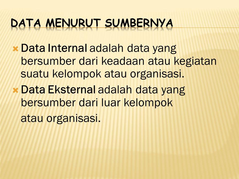  Data Internal adalah data yang bersumber dari keadaan atau kegiatan suatu kelompok atau organisasi.  Data Eksternal adalah data yang bersumber dari