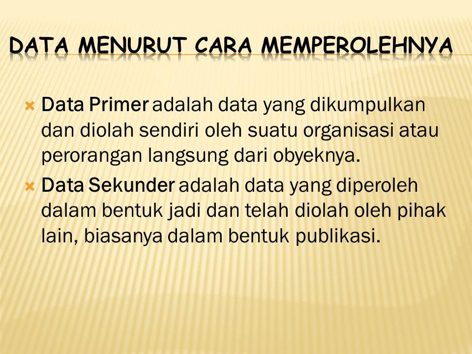  Data Primer adalah data yang dikumpulkan dan diolah sendiri oleh suatu organisasi atau perorangan langsung dari obyeknya.  Data Sekunder adalah dat