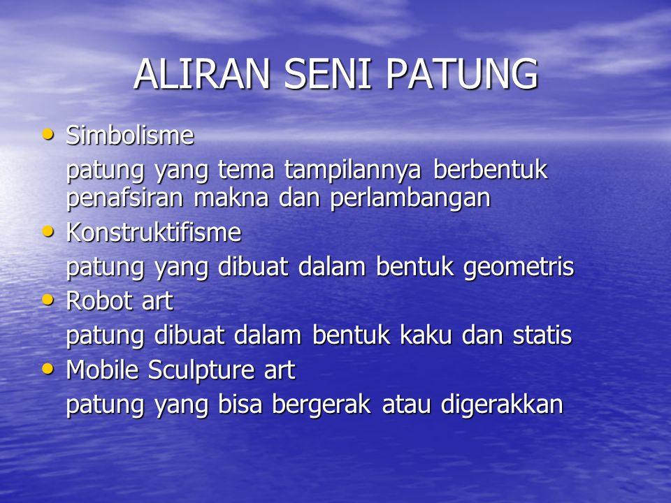 CIRI BENTUK PATUNG Naturalis Naturalis Fantasi / figuratif Fantasi / figuratif Abstrak Abstrak Stilasi / Abstraksi Stilasi / Abstraksi