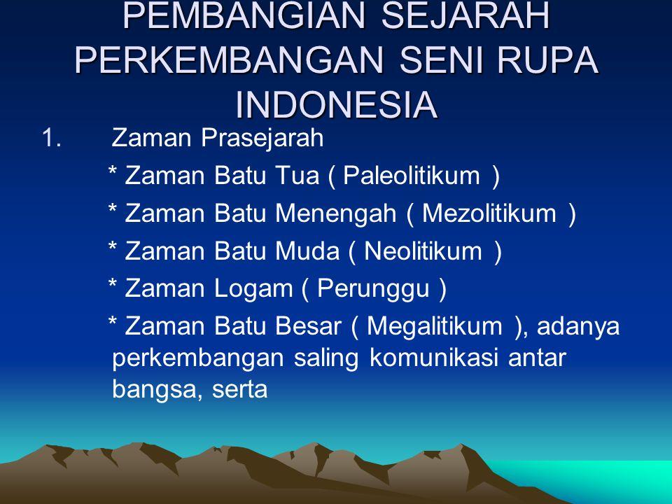 SEJARAH PERKEMBANGAN SENI RUPA INDONESIA Perkembangan seni rupa Indonesia dipengaruhi budaya bangsa-bangsa asing seperti : a)Bangsa India: pengaruh bu