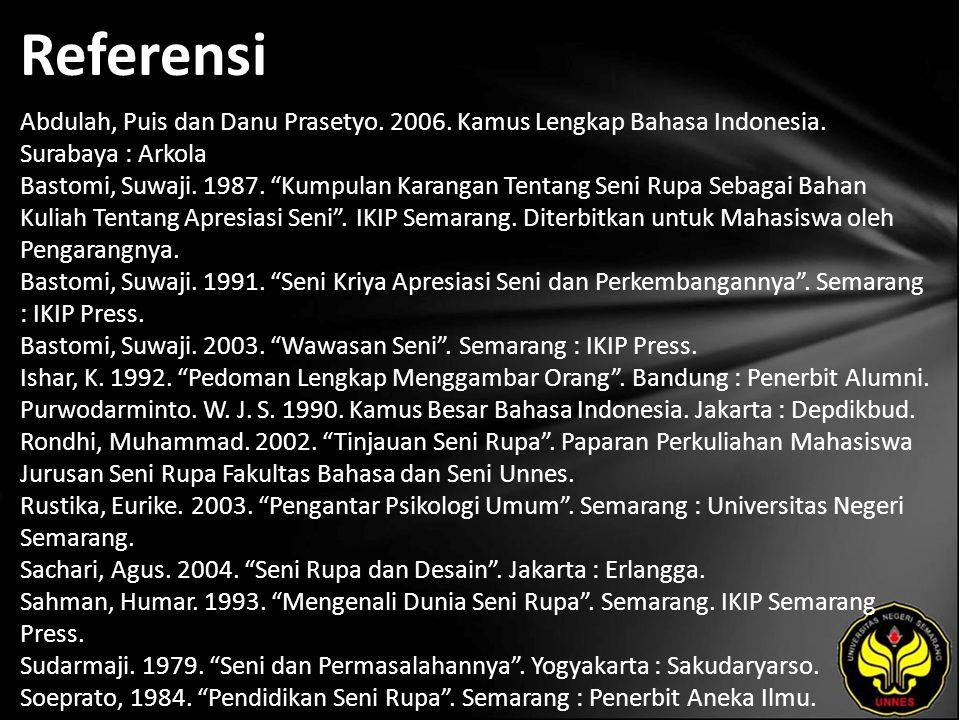 "Referensi Abdulah, Puis dan Danu Prasetyo. 2006. Kamus Lengkap Bahasa Indonesia. Surabaya : Arkola Bastomi, Suwaji. 1987. ""Kumpulan Karangan Tentang S"