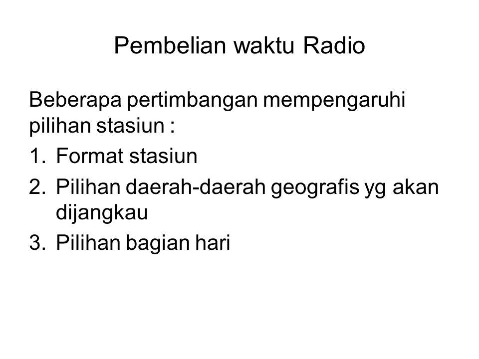 Pembelian waktu Radio Beberapa pertimbangan mempengaruhi pilihan stasiun : 1.Format stasiun 2.Pilihan daerah-daerah geografis yg akan dijangkau 3.Pili