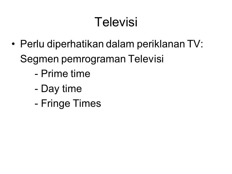 Televisi Perlu diperhatikan dalam periklanan TV: Segmen pemrograman Televisi - Prime time - Day time - Fringe Times