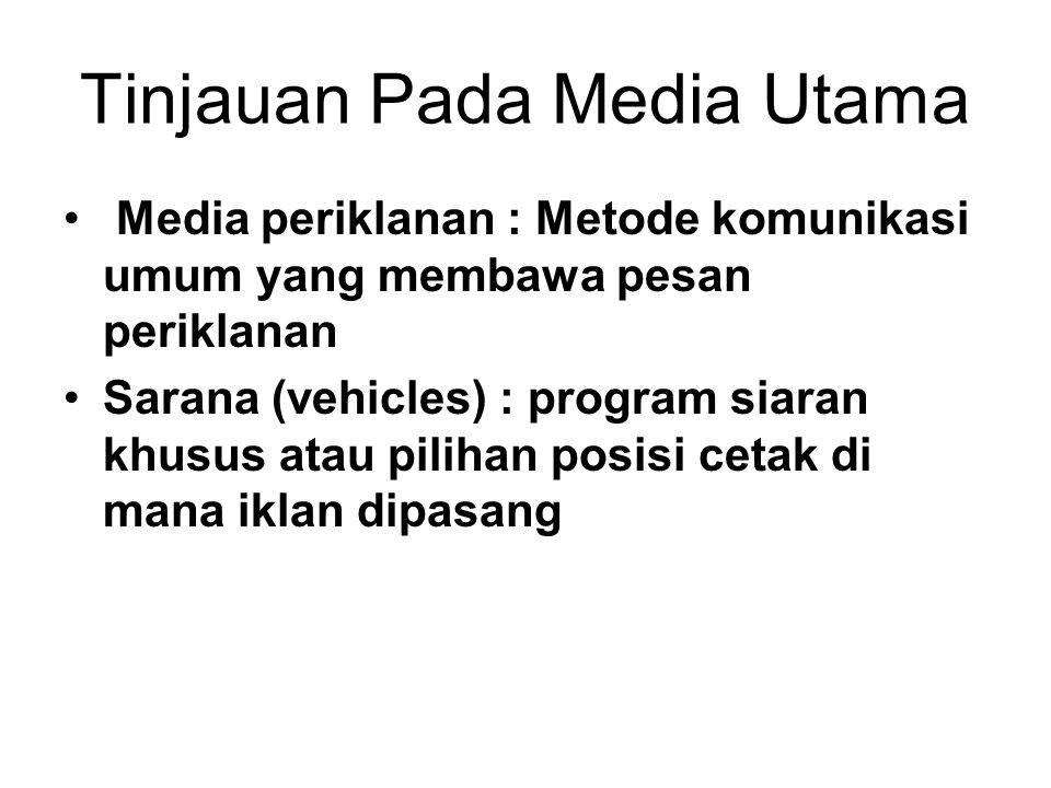 Tinjauan Pada Media Utama Media periklanan : Metode komunikasi umum yang membawa pesan periklanan Sarana (vehicles) : program siaran khusus atau pilih