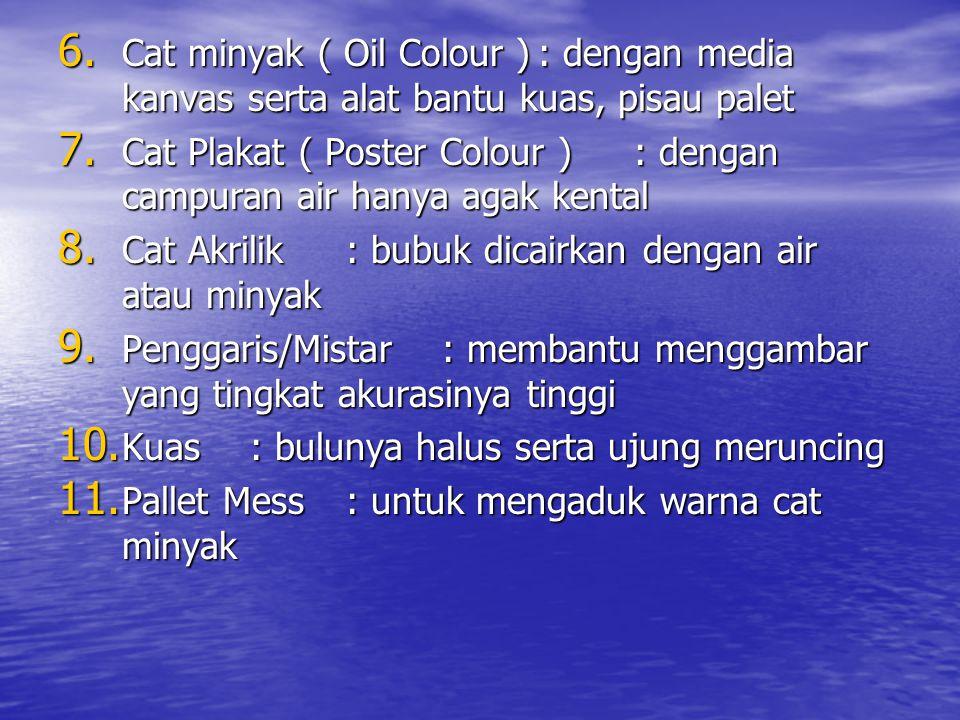 6.Cat minyak ( Oil Colour ): dengan media kanvas serta alat bantu kuas, pisau palet 7.